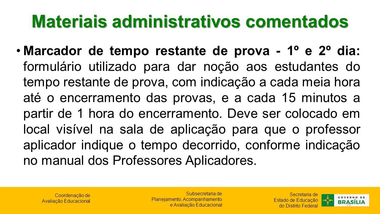 Materiais administrativos comentados