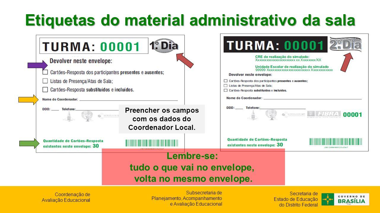 Etiquetas do material administrativo da sala