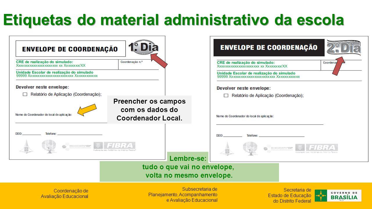Etiquetas do material administrativo da escola
