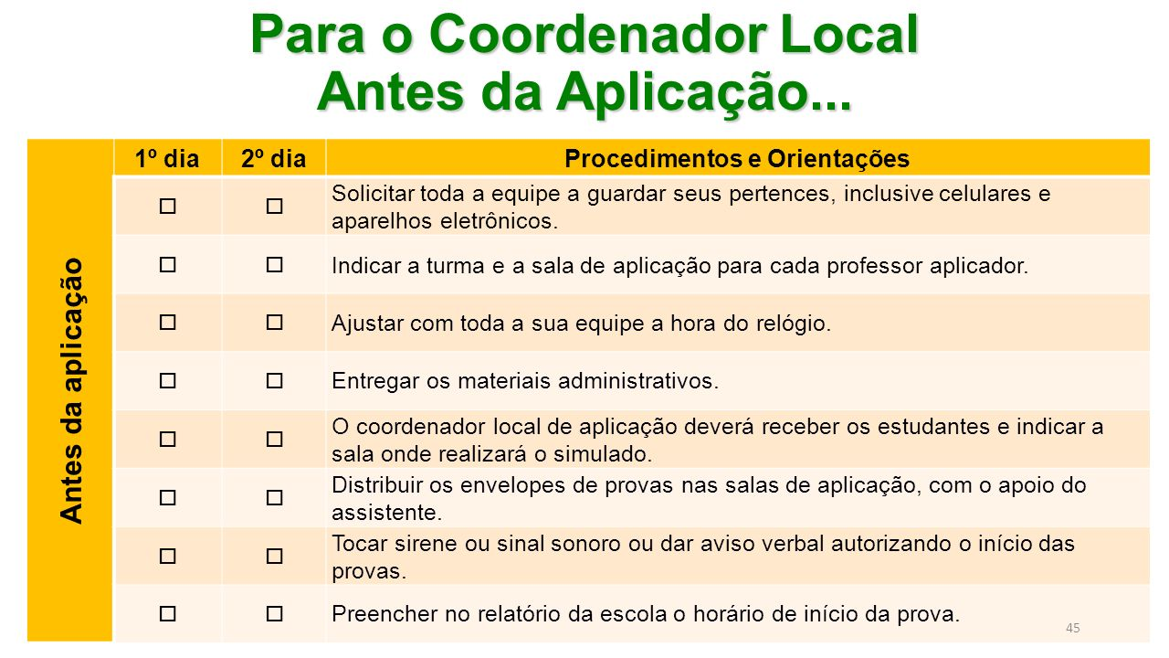 Para o Coordenador Local Antes da Aplicação...