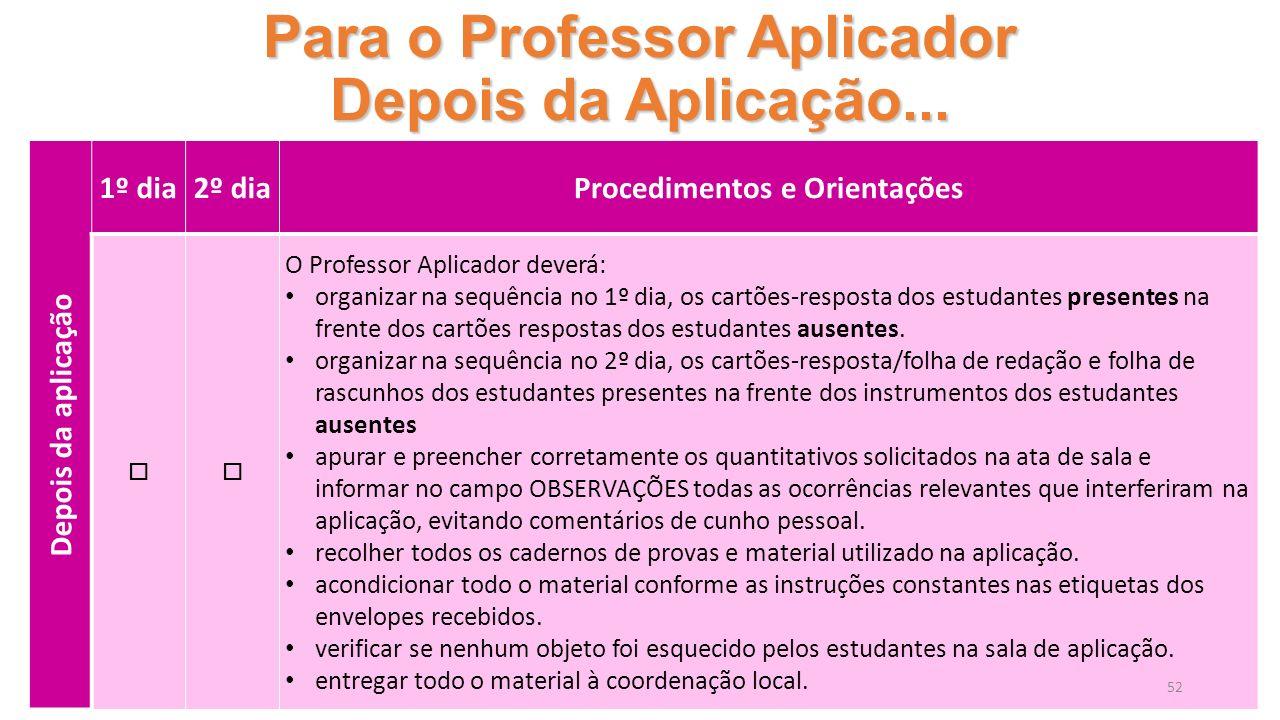 Para o Professor Aplicador Depois da Aplicação...