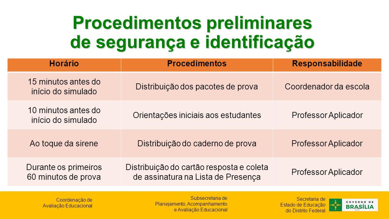 Procedimentos preliminares de segurança e identificação
