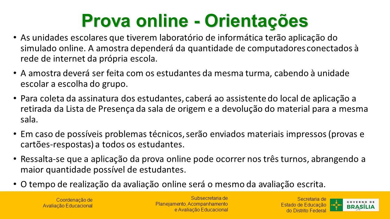 Prova online - Orientações