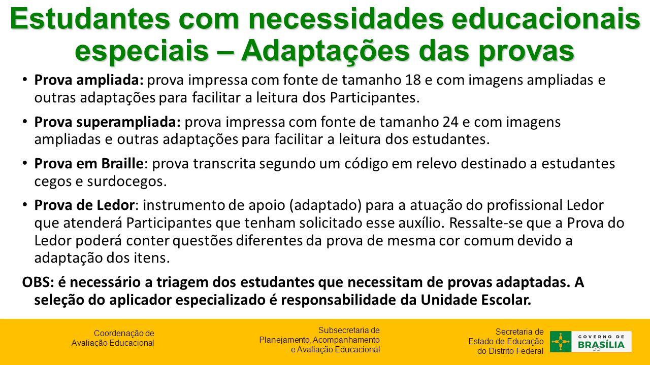 Estudantes com necessidades educacionais especiais – Adaptações das provas