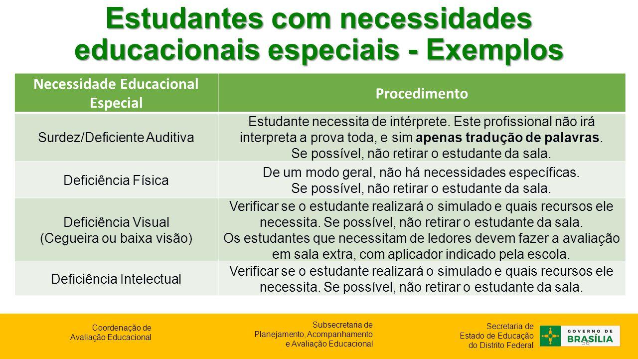 Estudantes com necessidades educacionais especiais - Exemplos