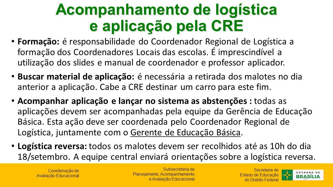 Acompanhamento de logística e aplicação pela CRE