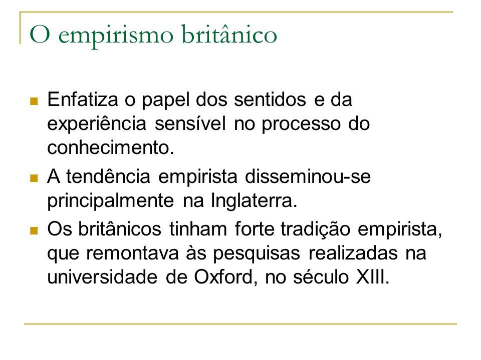 O empirismo britânico Enfatiza o papel dos sentidos e da experiência sensível no processo do conhecimento.