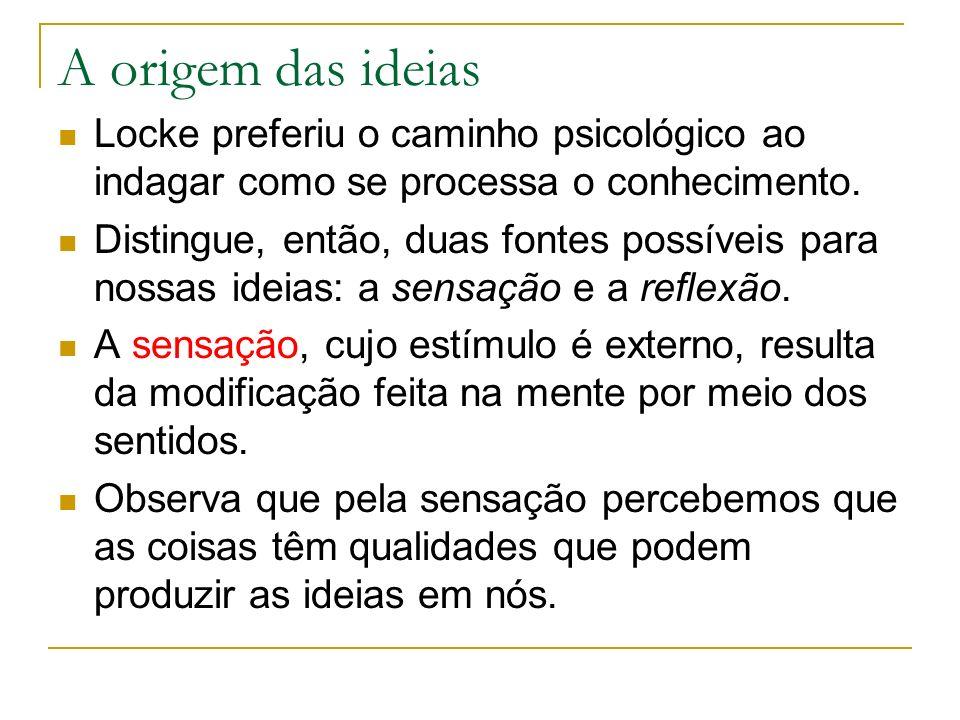 A origem das ideias Locke preferiu o caminho psicológico ao indagar como se processa o conhecimento.