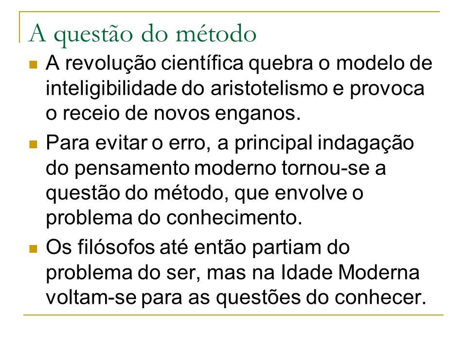 A questão do método A revolução científica quebra o modelo de inteligibilidade do aristotelismo e provoca o receio de novos enganos.