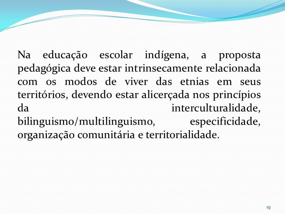 Na educação escolar indígena, a proposta pedagógica deve estar intrinsecamente relacionada com os modos de viver das etnias em seus territórios, devendo estar alicerçada nos princípios da interculturalidade, bilinguismo/multilinguismo, especificidade, organização comunitária e territorialidade.