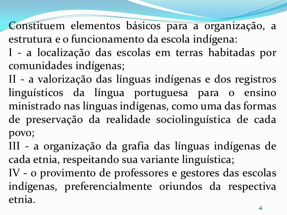 Constituem elementos básicos para a organização, a estrutura e o funcionamento da escola indígena: