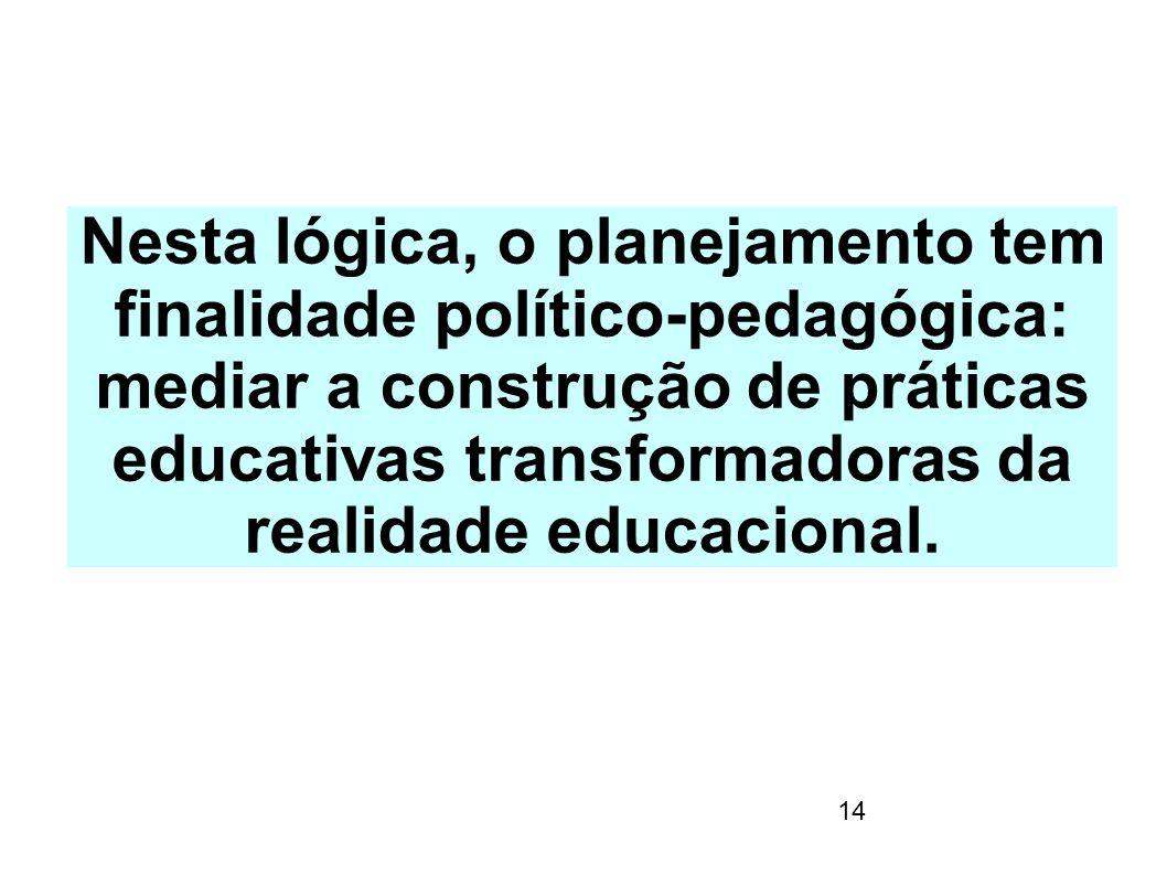 Nesta lógica, o planejamento tem finalidade político-pedagógica: mediar a construção de práticas educativas transformadoras da realidade educacional.