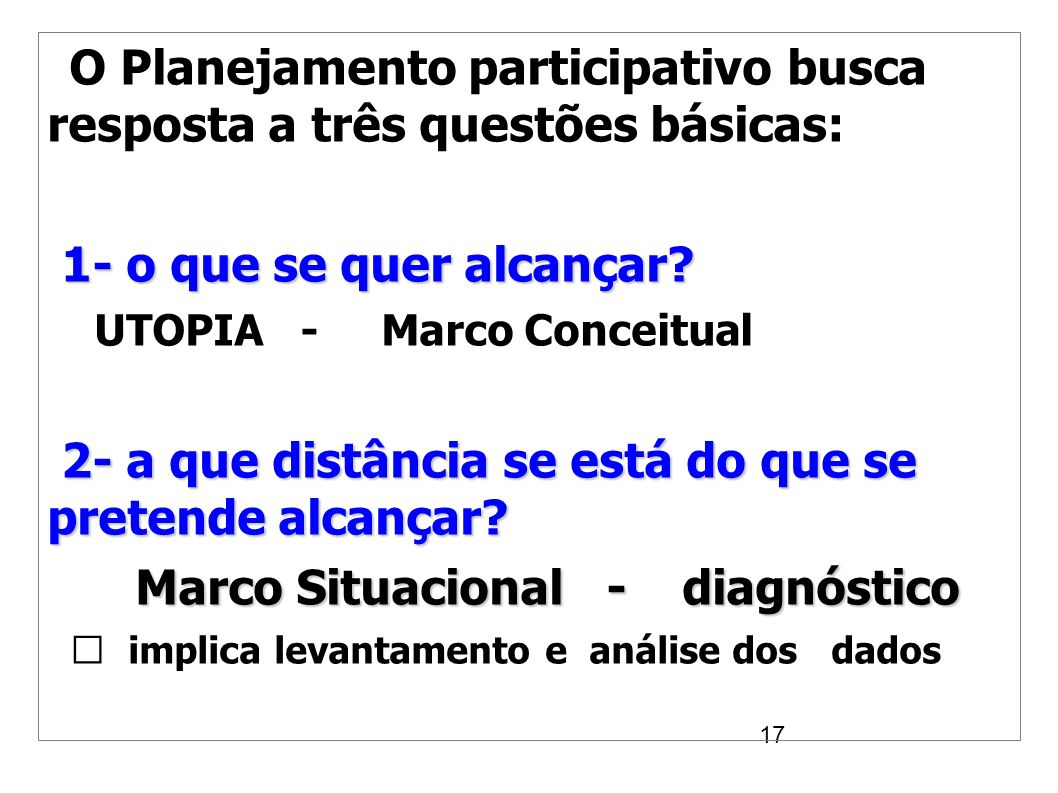 Fases do Planejamento Participativo