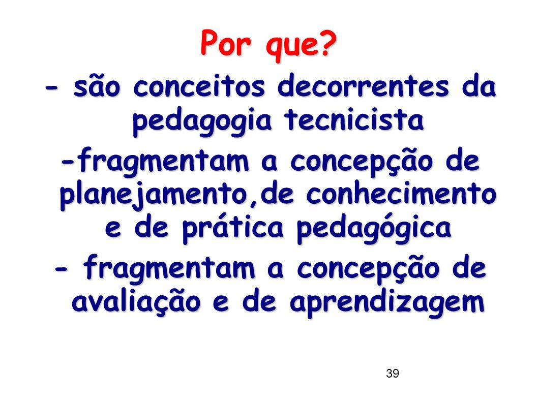 Por que - são conceitos decorrentes da pedagogia tecnicista