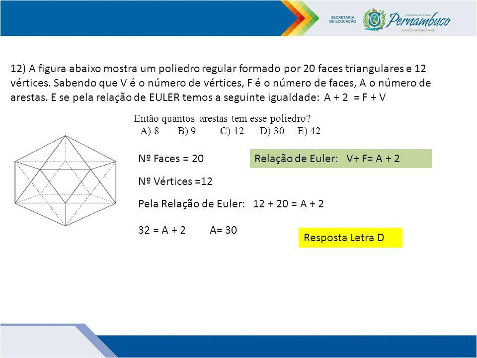 Relação de Euler: V+ F= A + 2