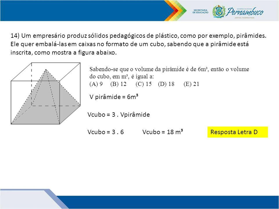 14) Um empresário produz sólidos pedagógicos de plástico, como por exemplo, pirâmides. Ele quer embalá-las em caixas no formato de um cubo, sabendo que a pirâmide está inscrita, como mostra a figura abaixo.