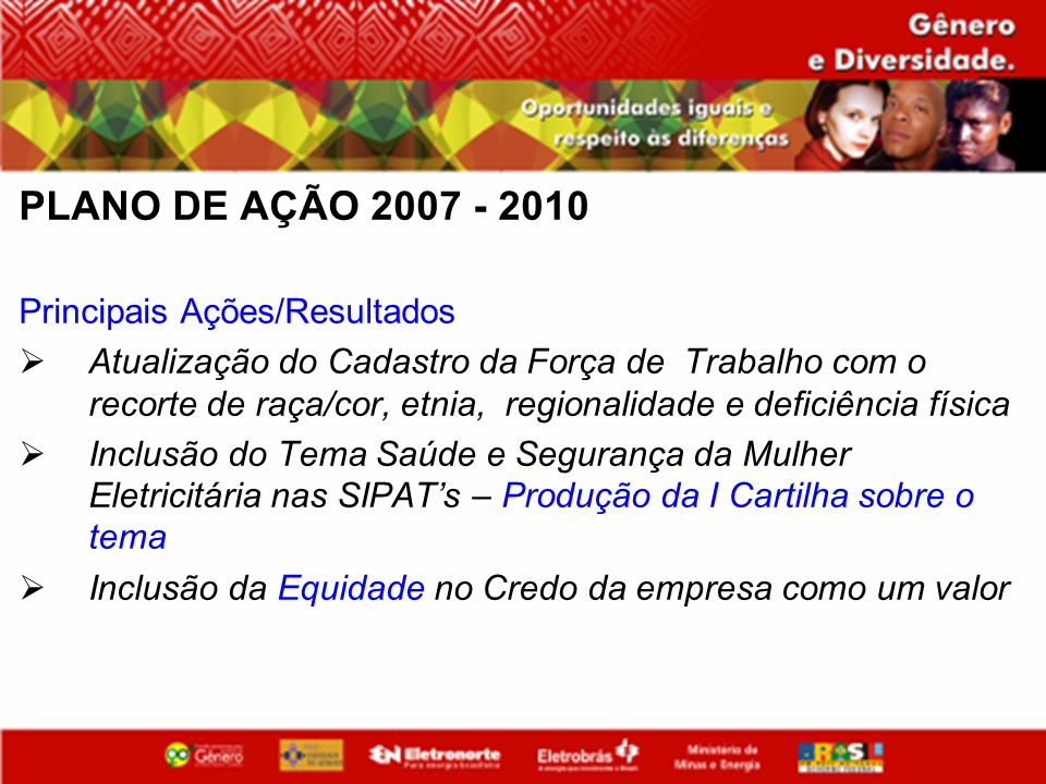 PLANO DE AÇÃO 2007 - 2010 Principais Ações/Resultados