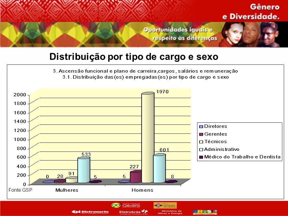 Distribuição por tipo de cargo e sexo