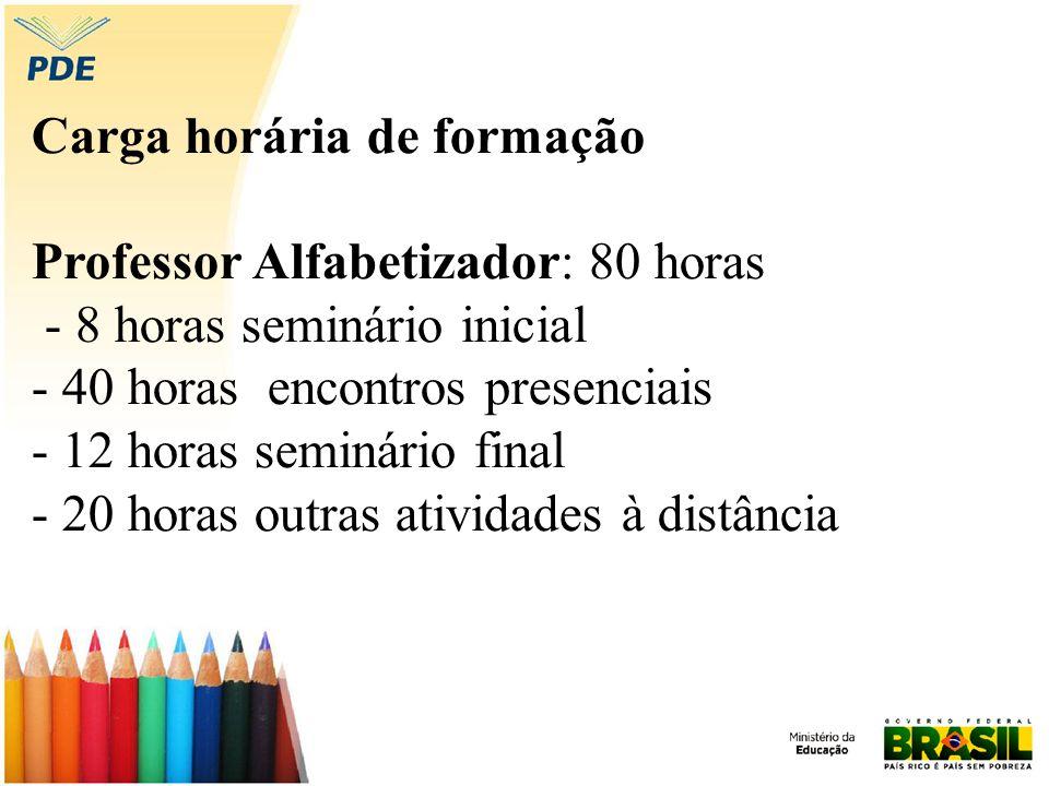 Carga horária de formação Professor Alfabetizador: 80 horas - 8 horas seminário inicial - 40 horas encontros presenciais - 12 horas seminário final - 20 horas outras atividades à distância