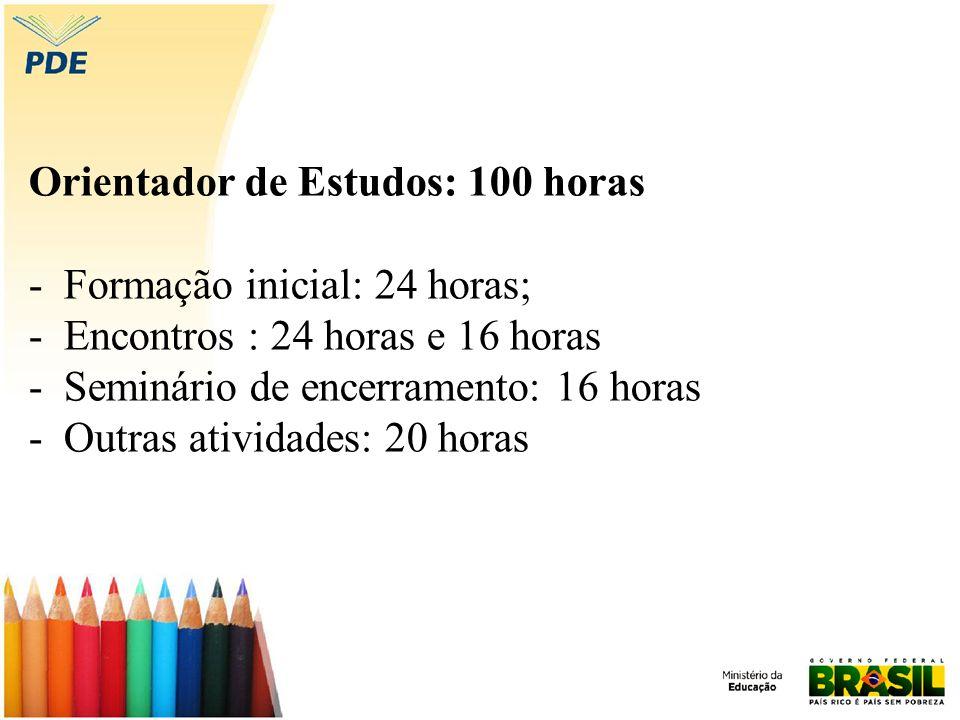 Orientador de Estudos: 100 horas - Formação inicial: 24 horas; - Encontros : 24 horas e 16 horas - Seminário de encerramento: 16 horas - Outras atividades: 20 horas