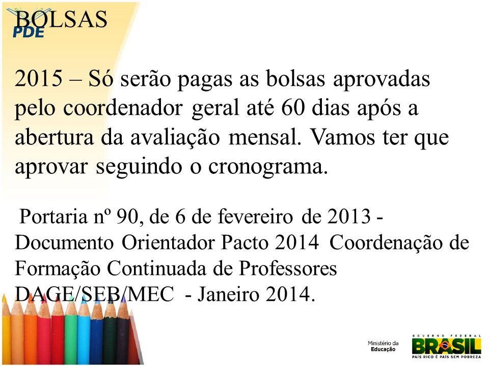 BOLSAS 2015 – Só serão pagas as bolsas aprovadas pelo coordenador geral até 60 dias após a abertura da avaliação mensal.