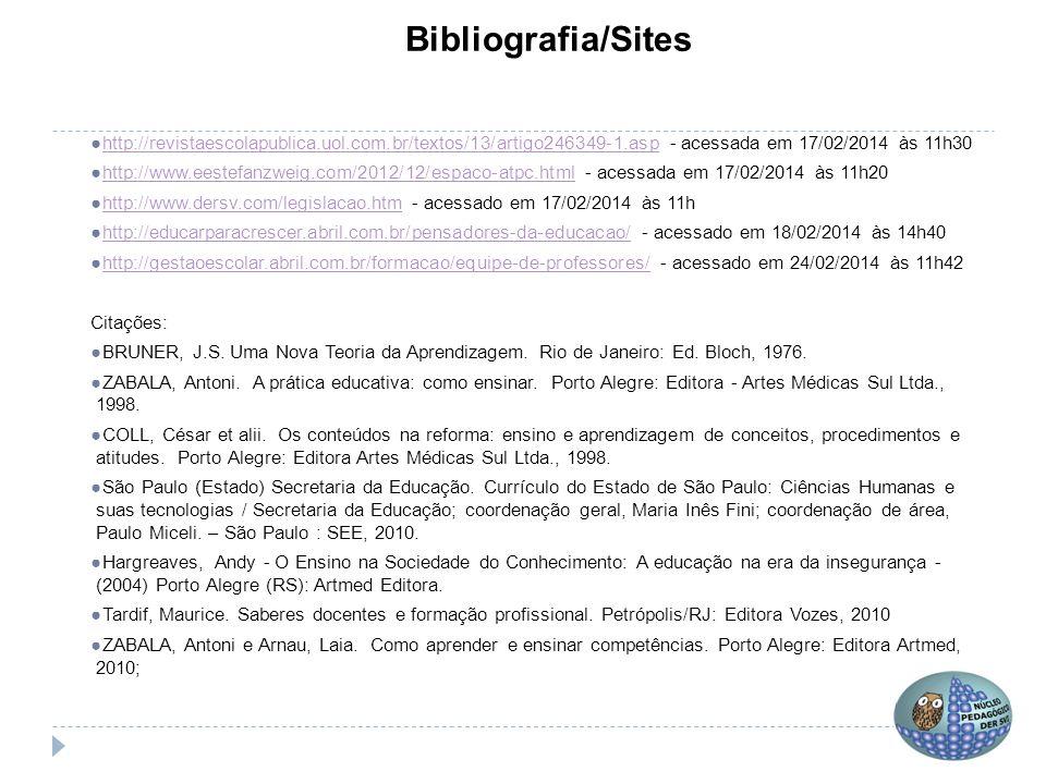 Bibliografia/Sites http://revistaescolapublica.uol.com.br/textos/13/artigo246349-1.asp - acessada em 17/02/2014 às 11h30.