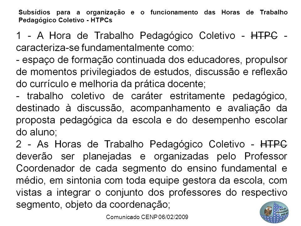 Subsídios para a organização e o funcionamento das Horas de Trabalho Pedagógico Coletivo - HTPCs