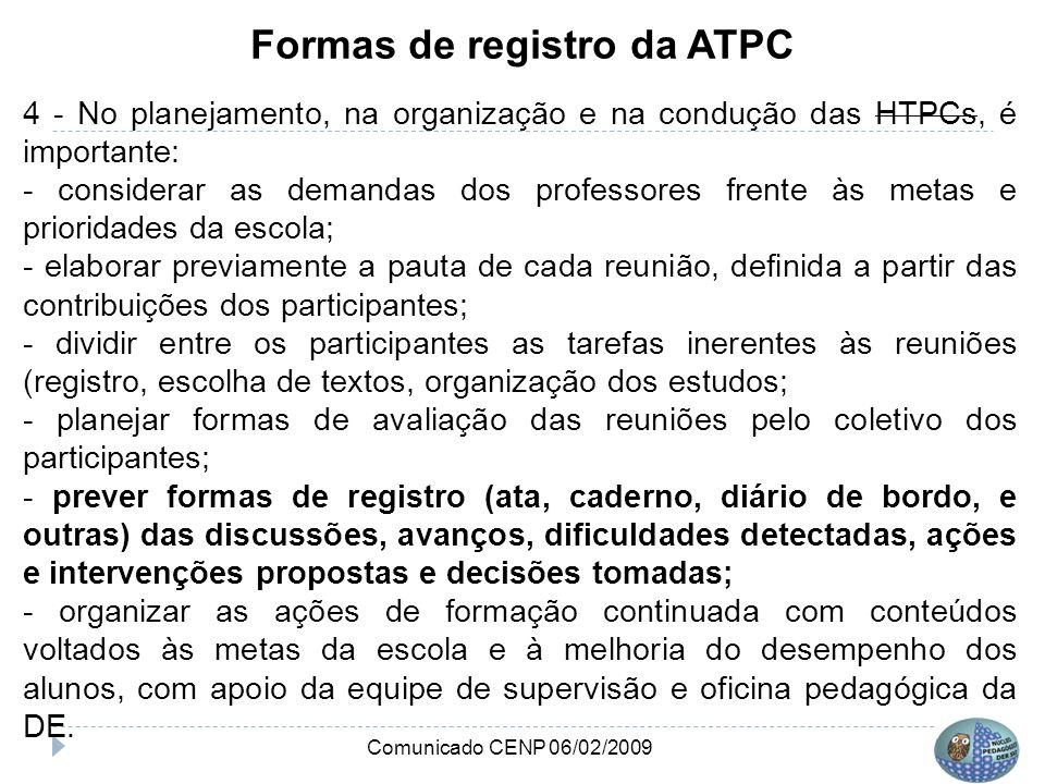 Formas de registro da ATPC