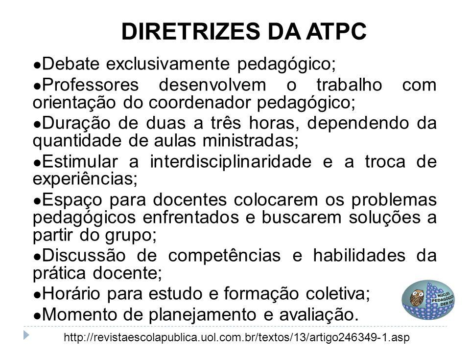 DIRETRIZES DA ATPC Debate exclusivamente pedagógico;