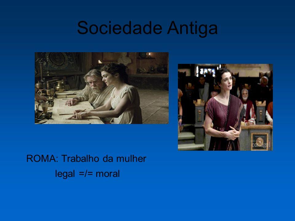 Sociedade Antiga ROMA: Trabalho da mulher legal =/= moral