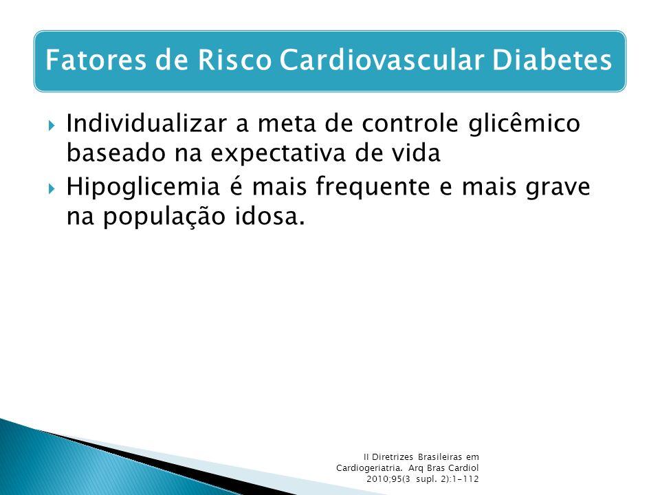 Hipoglicemia é mais frequente e mais grave na população idosa.