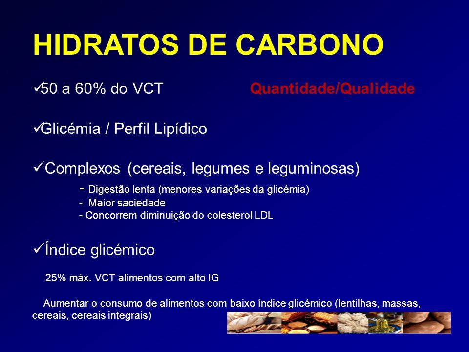 HIDRATOS DE CARBONO 50 a 60% do VCT Quantidade/Qualidade