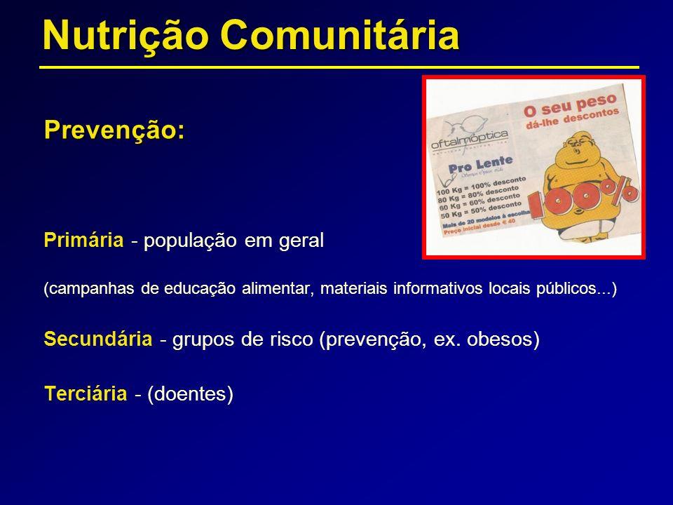 Nutrição Comunitária Prevenção: Primária - população em geral