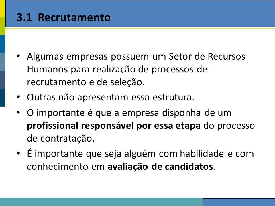 3.1 Recrutamento Algumas empresas possuem um Setor de Recursos Humanos para realização de processos de recrutamento e de seleção.