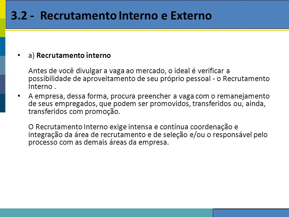 3.2 - Recrutamento Interno e Externo