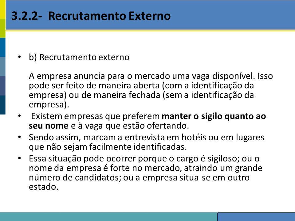 3.2.2- Recrutamento Externo