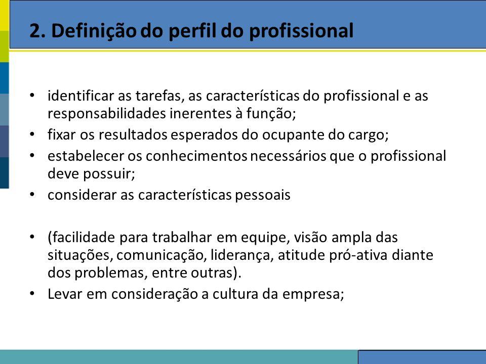 2. Definição do perfil do profissional