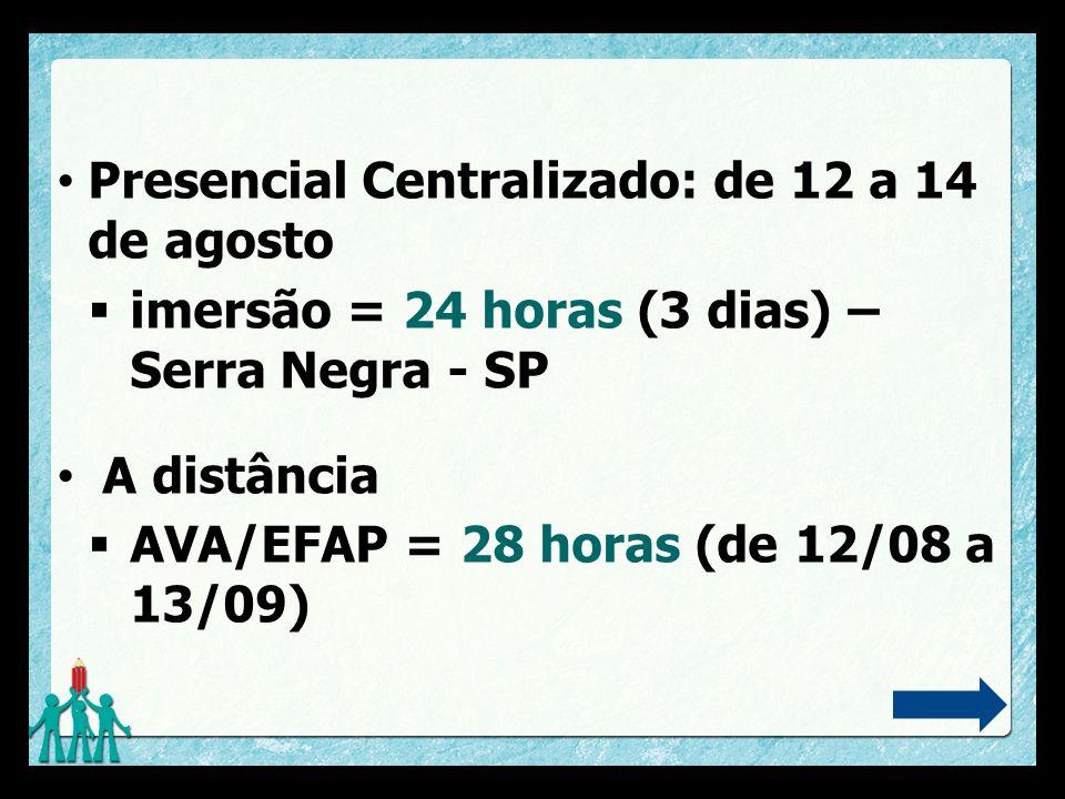 Presencial Centralizado: de 12 a 14 de agosto
