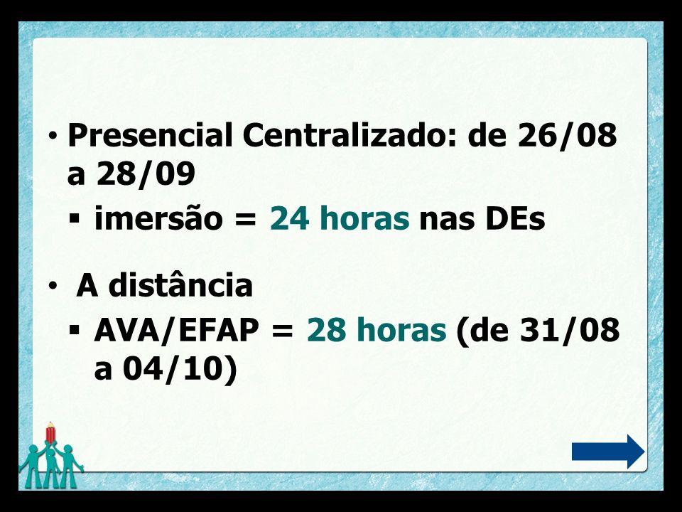 Presencial Centralizado: de 26/08 a 28/09