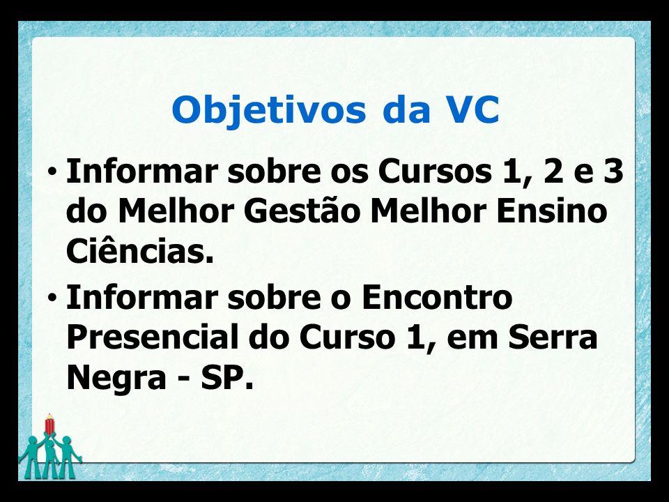 Objetivos da VC Informar sobre os Cursos 1, 2 e 3 do Melhor Gestão Melhor Ensino Ciências.