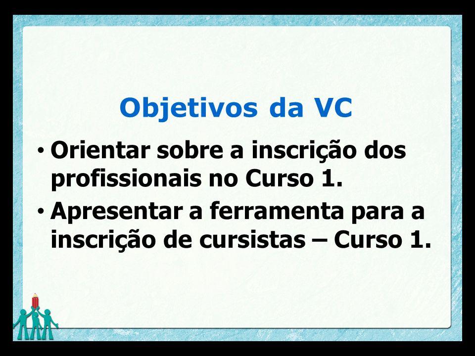 Objetivos da VC Orientar sobre a inscrição dos profissionais no Curso 1.