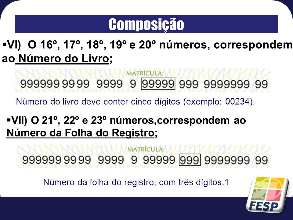 Composição VI) O 16º, 17º, 18º, 19º e 20º números, correspondem ao Número do Livro; Número do livro deve conter cinco dígitos (exemplo: 00234).