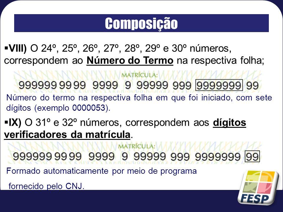 Composição VIII) O 24º, 25º, 26º, 27º, 28º, 29º e 30º números, correspondem ao Número do Termo na respectiva folha;
