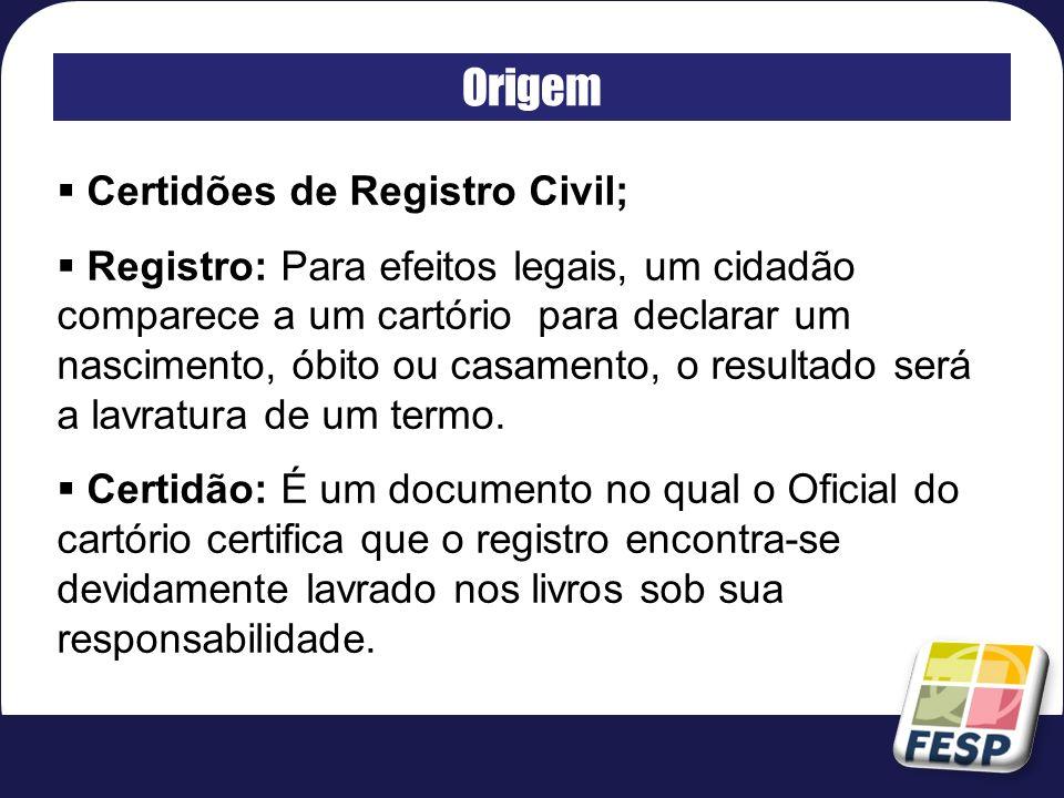 Origem Certidões de Registro Civil;