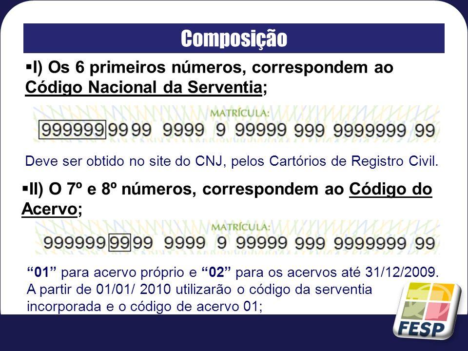 Composição I) Os 6 primeiros números, correspondem ao Código Nacional da Serventia;