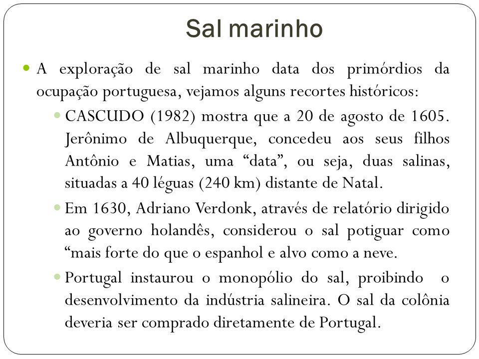 Sal marinho A exploração de sal marinho data dos primórdios da ocupação portuguesa, vejamos alguns recortes históricos:
