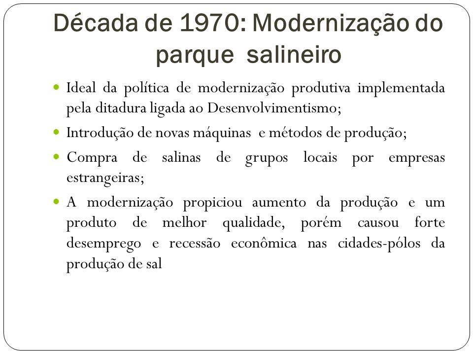 Década de 1970: Modernização do parque salineiro