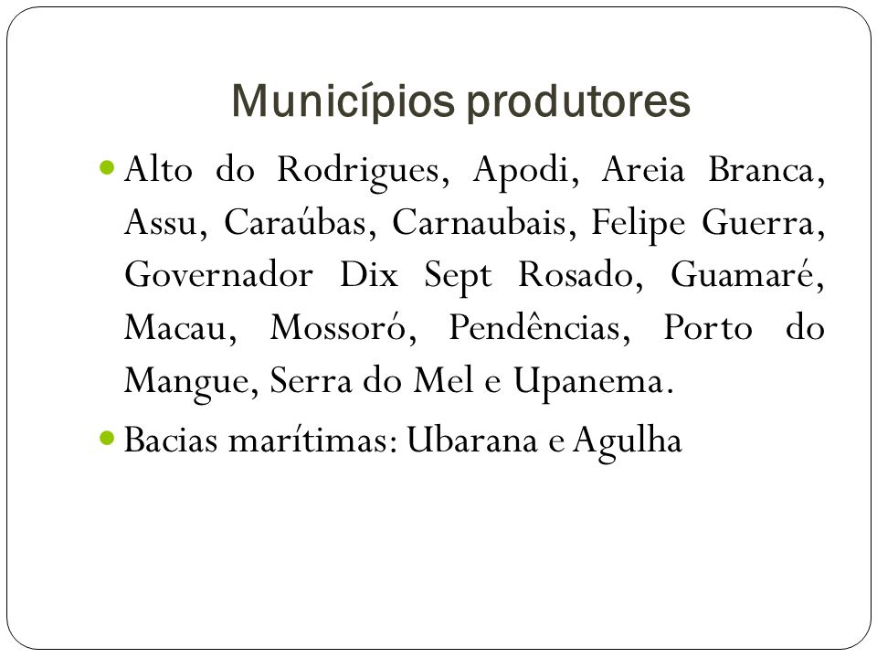 Municípios produtores