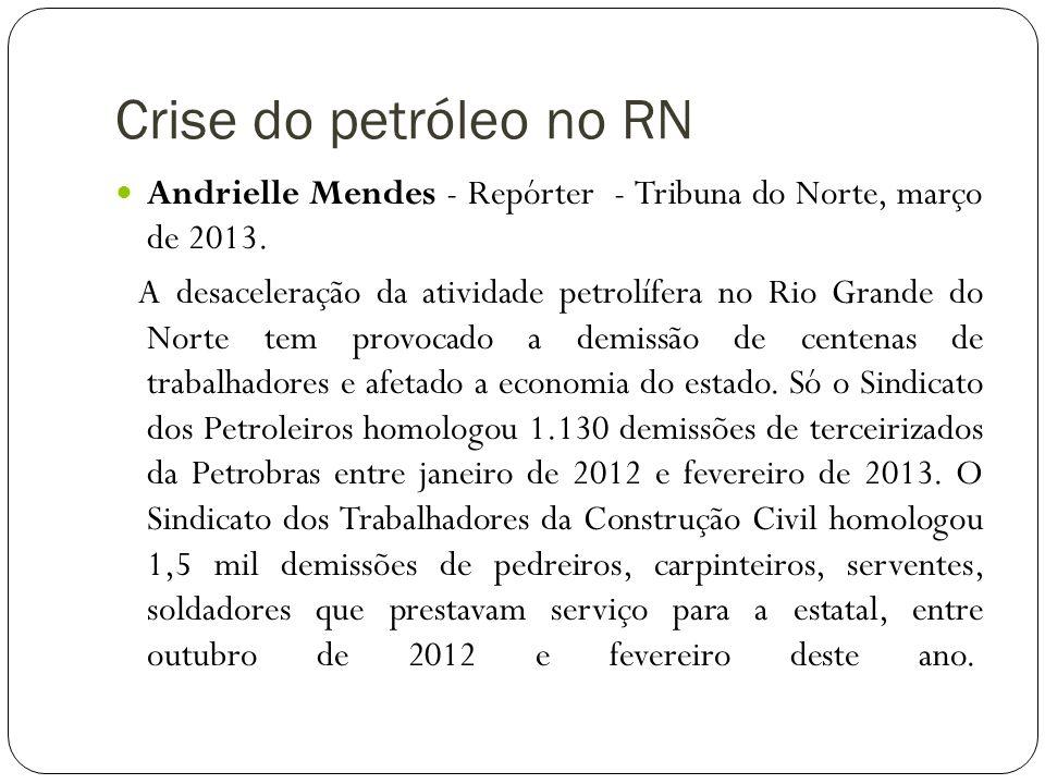 Crise do petróleo no RN Andrielle Mendes - Repórter - Tribuna do Norte, março de 2013.