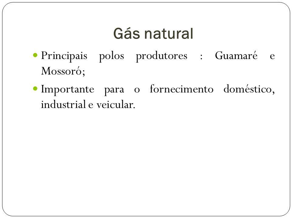 Gás natural Principais polos produtores : Guamaré e Mossoró;